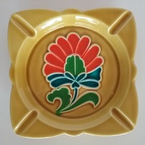 Ceramic 70's Ashtray Yellow Orange